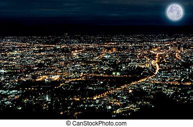 bleu, ville, temps, scène, lune, lumières, nuit, thaïlande