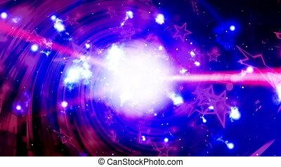 bleu, vj, lumière, notes, faire boucle, musique, arrière-plan rouge, rayons, blanc, animé, résumé, magenta