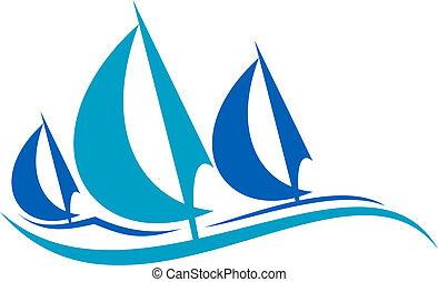 bleu, voile, sur, stylisé, vagues, bateaux