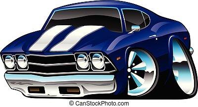 bleu, voiture classique, dessin animé, profond, cobalt, américain, vecteur, illustration, muscle