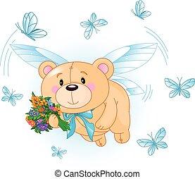 bleu, voler, ours, teddy