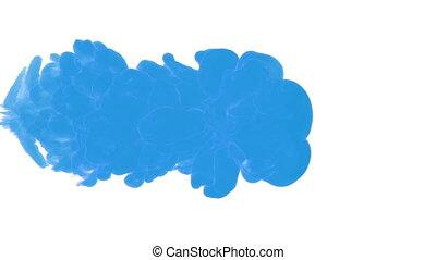 bleu, voxel, arrière-plan., render., goutte, eau, simulation, 1, smoke., informatique, encre, graphics., distribution, blanc, 3d