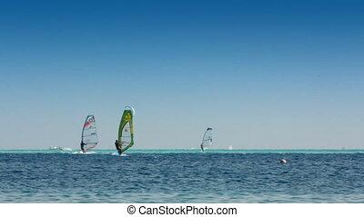 bleu, windsurfers, surfer, -, surface, mer, kitesurfer