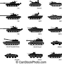 blindé, véhicules, stylisé, infographics, images, militaire