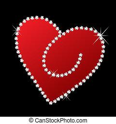 bling, coeur, diamants