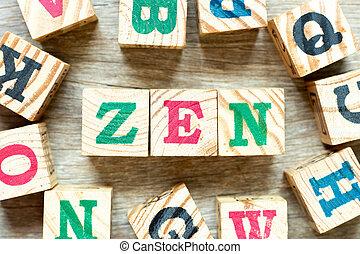 bloc, bois, lettre, fond, mot, zen, alphabet, autre