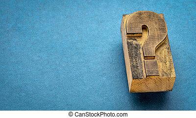 bloc, impression, question, letterpress, vendange, marque