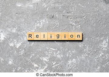 block., religion, mot, texte, table, ciment, ton, desing, concept, bois, écrit