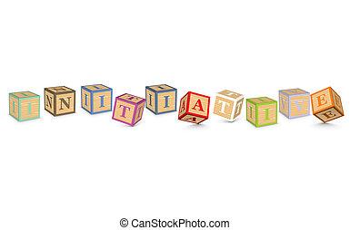 blocs, écrit, initiative, mot