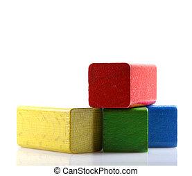 blocs, bois, bâtiment