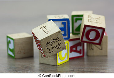 blocs bois, childrens, plancher