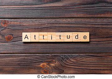 blocs bois, concept, mot, fait, attitude