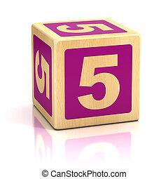 blocs, bois, numéro 5, cinq, police