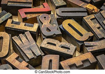 blocs, impression, letterpress, bois, vendange, type