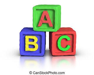 blocs, jeu, abc, -