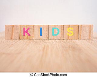 "blocs, ""kid"", tpye, jouets, bois, gosses"