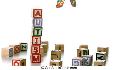 blocs, ruban, tomber, autism, à côté de