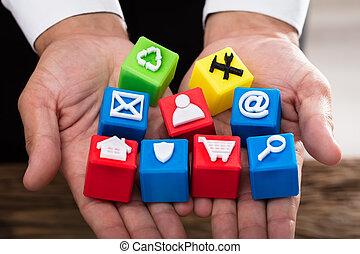 blocs, vif, icônes, cubique, tenue, homme