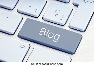 blog, gris, clavier, mot, clef informatique