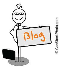 blog, homme affaires, bannière