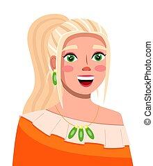 blogger, émission, vidéo, streamer., maquillage, sourire, jeune, cheveux, branché, blonds, girl, ou, ligne
