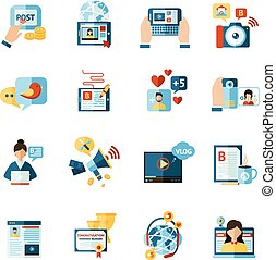 blogger, ensemble, icônes