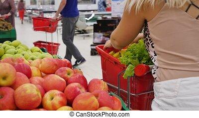 blond, achats, épicerie, supermarket., mignon, girl