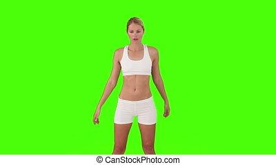 blonds, exercice, quelques-uns, vêtements de sport, femme