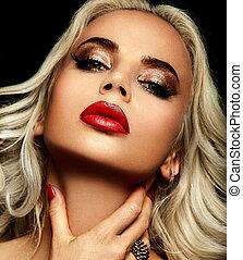 blonds, femme, élégant, caucasien, maquillage, mode, fascination, propre, jeune, closeup, beau, lèvres, portrait, look., peau, parfait, élevé, sexy, modèle, rouges, clair