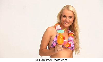 blonds, femme, boire, cocktail