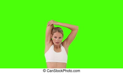 blonds, femme, vêtements de sport, exercice