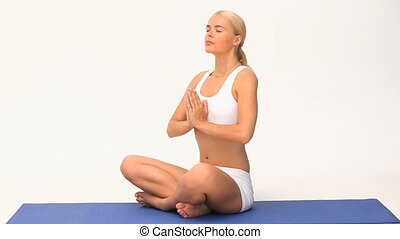 blonds, femme, yoga, joli