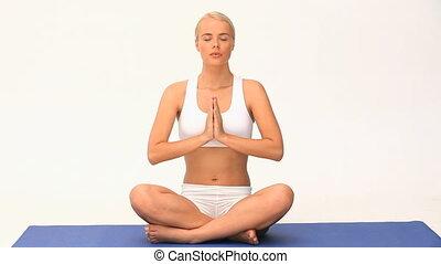 blonds, femme, yoga