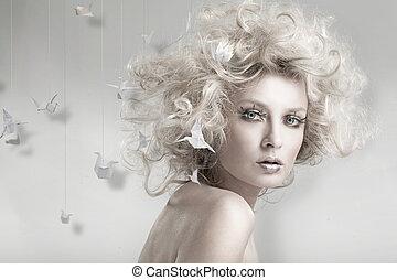 blonds, origam, séduisant, beauté