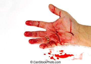 blood., meurtre, weapon., crime., couteau