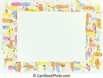 blots, coloré, cadre, gouttes, texture, aquarelle, fond