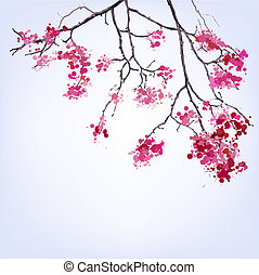 blots, fond, printemps, sakura, branche, fleurir