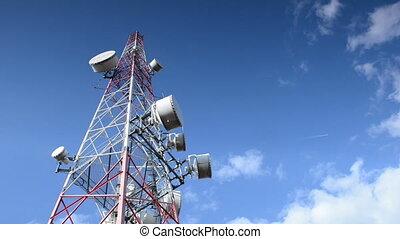 blu, tour, télécommunication, contre