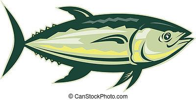 bluefin, isolé, côté, thon, blanc, affiché