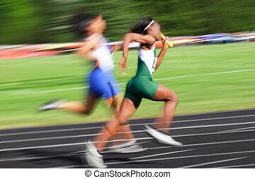blur), relais, (motion, course