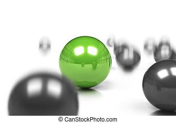 blur., sph?re, business, bord, fond, concept, balles, une, différence, mouvement, gris, vert, beaucoup, sur, effet, compétitif, blanc
