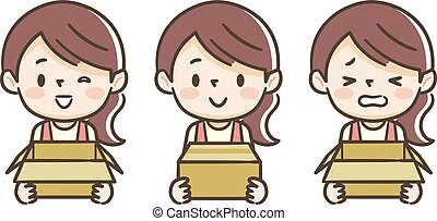 boîte, a, carton, jeune, femme foyer
