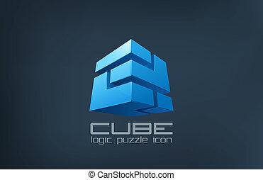 boîte, abstract., cube, puzzle, logique, logo, icon., technologie