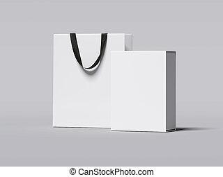 boîte, achats, rendre, luxe, blanc, bag., 3d
