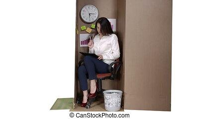 boîte, affaires femme, fonctionnement, très, intérieur, carton, petit bureau