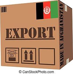 boîte, afghanistan, carton, fait