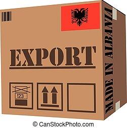 boîte, albanie, carton, fait