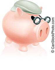 boîte, argent, pension, cochon
