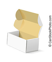 boîte, arrière-plan., emballage, blanc