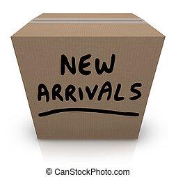 boîte, arrivées, produits, nouveau, carton, marchandise, dernier